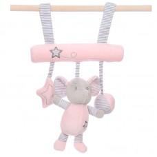 Felakasztható baby plüss játék - rózsaszín elefántos