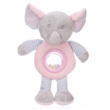 Baby plüss csörgő - rózsaszín elefánt