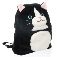 Cicás plüss hátizsák - fekete