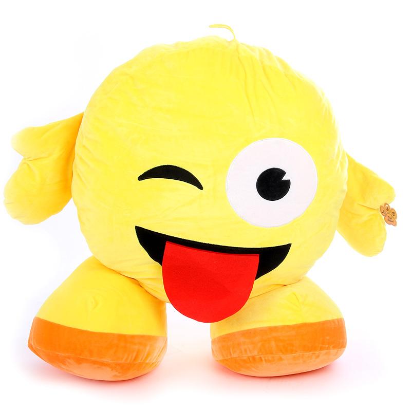 Plüss emoji párna - nyelvet nyújt
