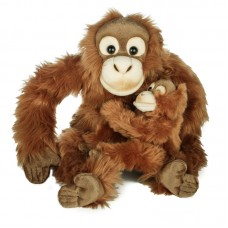 Orángután gyermekével - plüss orángután