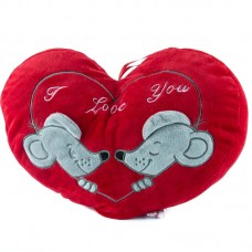 Egérkés, szív alakú plüss díszpárna