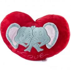 Elefántos, szív alakú plüss díszpárna