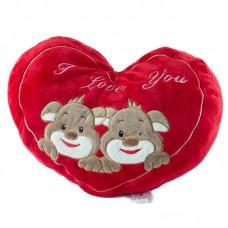 Kutyusos, szív alakú plüss díszpárna