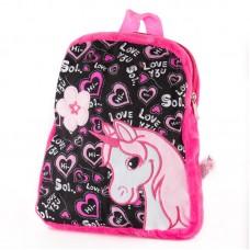 Rózsaszín-fekete hátizsák unikornis mintával