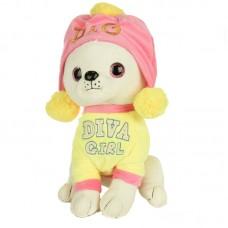 Díva - plüss chihuahua pink-sárga ruhában