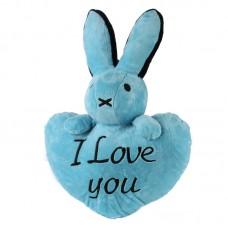 Kék, szív alakú nyuszis párna
