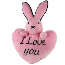 Rózsaszín, szív alakú nyuszis párna