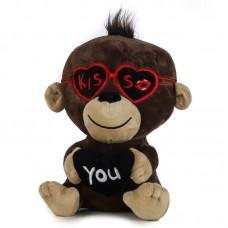 Szerelmes barna plüss majom
