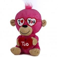 Szerelmes rózsaszín plüss majom