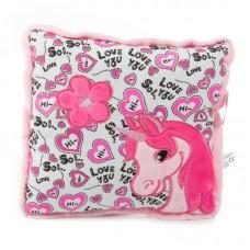 Rózsaszín egyszarvús plüss díszpárna